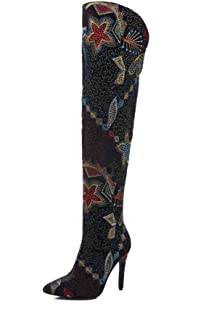 Women/'s Over Knee High Boots Sequins Stretchy Heels Pointed Toe Pull on Shoes J
