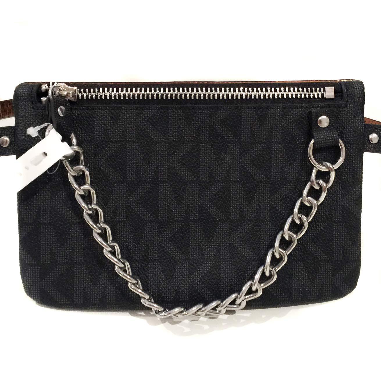 bb125a821d14 Amazon.com   Michael Kors MK Fanny Pack Belt With Pull Chain, Black/Grey,  Medium   Waist Packs