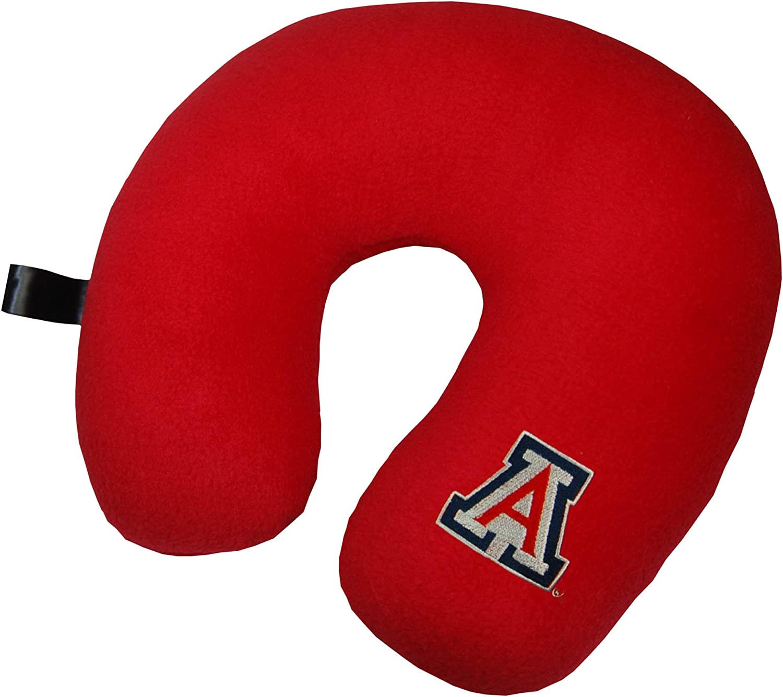 Red NCAA Arizona Wildcats Embroidered U-Shaped Fleece Travel Neck Pillow