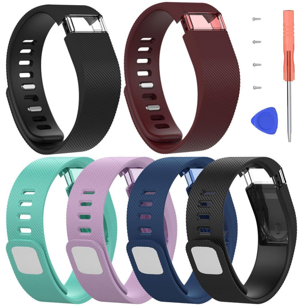 For Fitbit Force Large Bands,PrettyW Large Silicone Replacement Band Strap Wristband Bracelet For Fitbit Force (Pack of 6)
