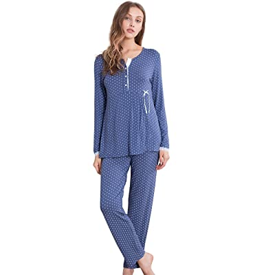 GYS Women's Henley Neck Long Sleeve Pajamas Star Printing Sleepwear Set at Women's Clothing store