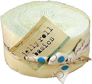 Moda Basics Bella Solids Snow 9900-11 Jelly Roll, 40 2.5x44-inch Cotton Fabric Strips