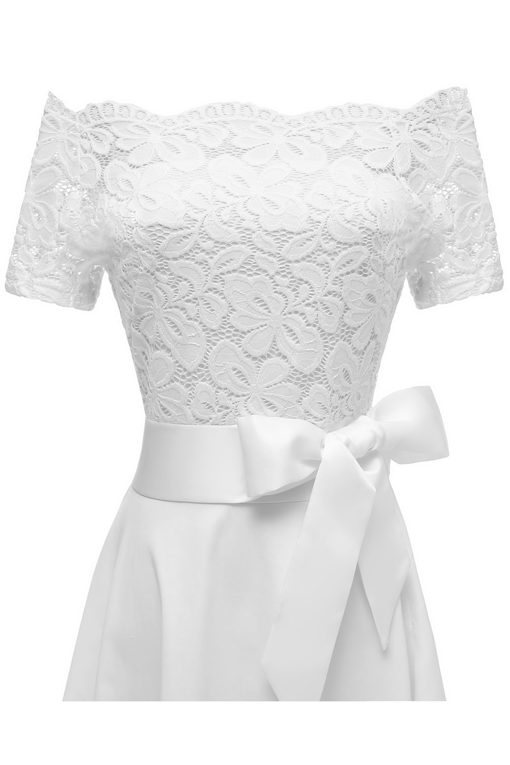 MILANO BRIDE Women's Vintage Floral Lace Short Sleeves Boat Neck Cocktail Formal Swing Dress-L-White by MILANO BRIDE (Image #6)
