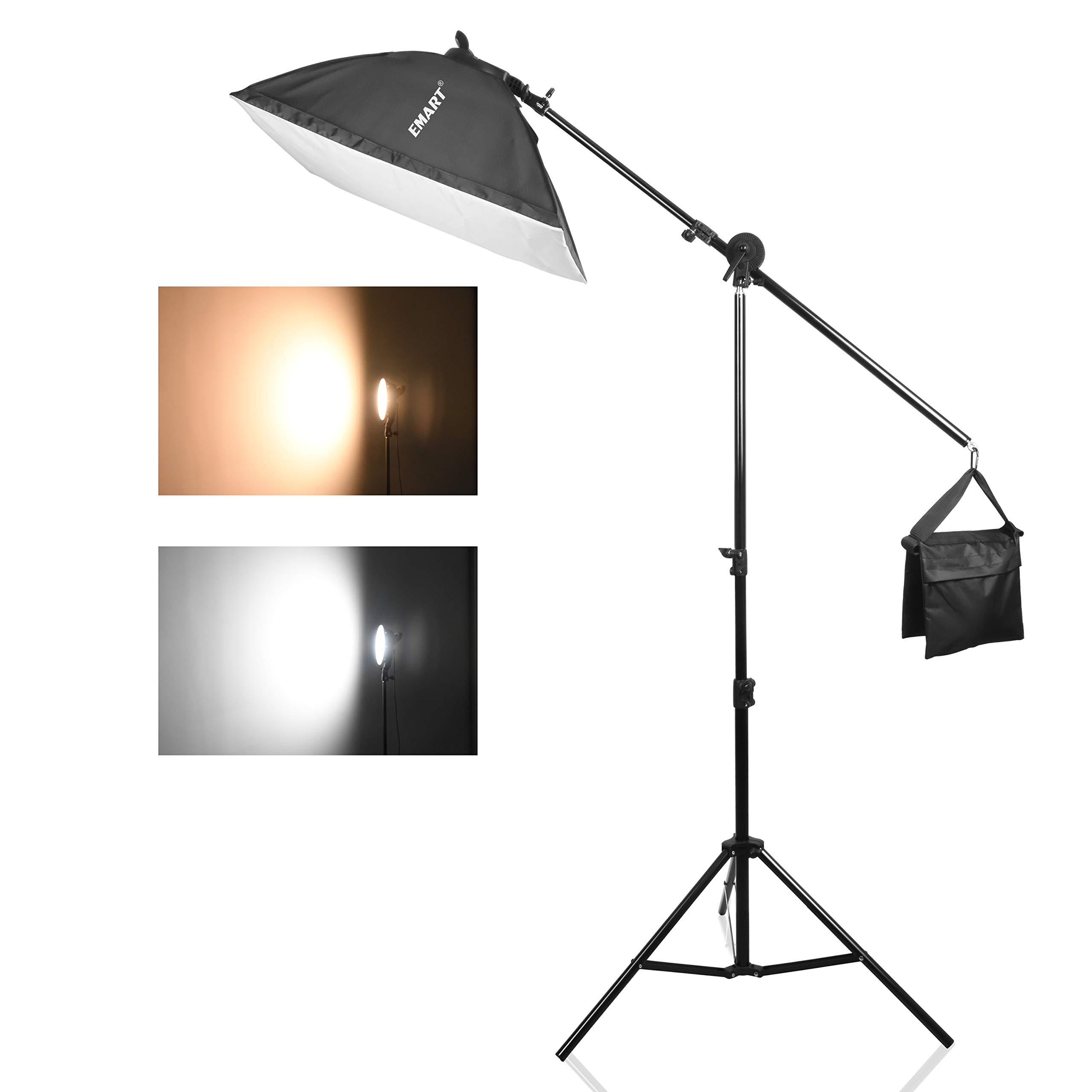 Emart 45W Dimmable LED with Double Color Temperature Continuous Lighting Studio Kit, Boom Arm Hairlight Softbox for Photography Lighting and Photo Vedio Shooting