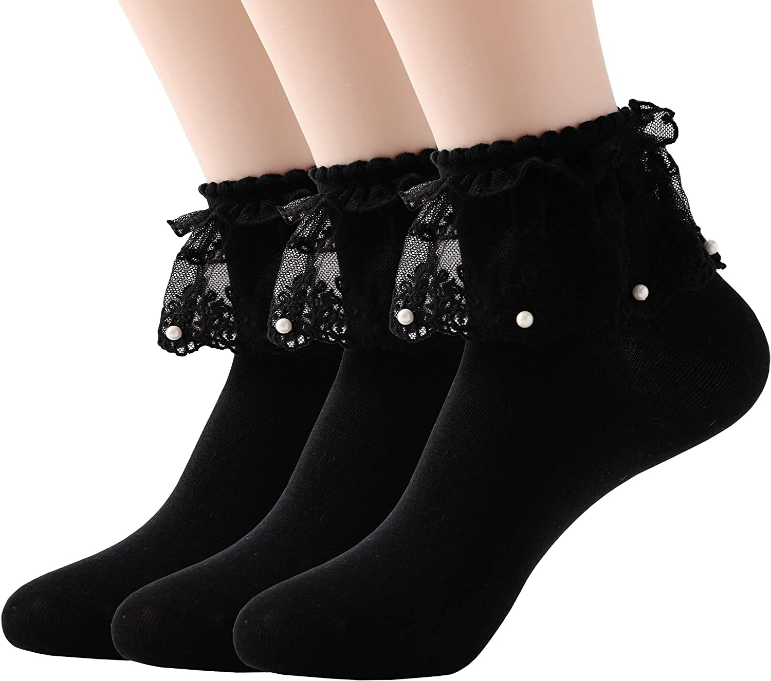 6 3 9 or 12 Pairs Girls Kids Cute LACE Ankle Socks School White Frilly Lace Daily Use All Sizes