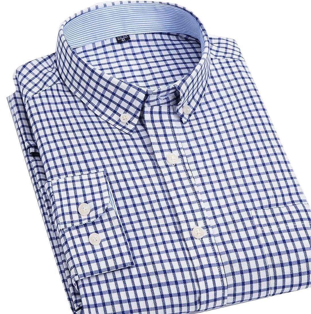 Men Slim Fit Oxford Shirt Long Sleeve Button Down Collar Dress Shirts