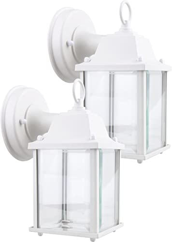 LIT-PaTH Outdoor LED Wall Lantern, Wall Sconce as Porch Light, 9.5W 75W Equivalent , 800 Lumen, Aluminum Housing Plus Glass, Matte White Finish, ETL and ES Qualified, 2-Pack