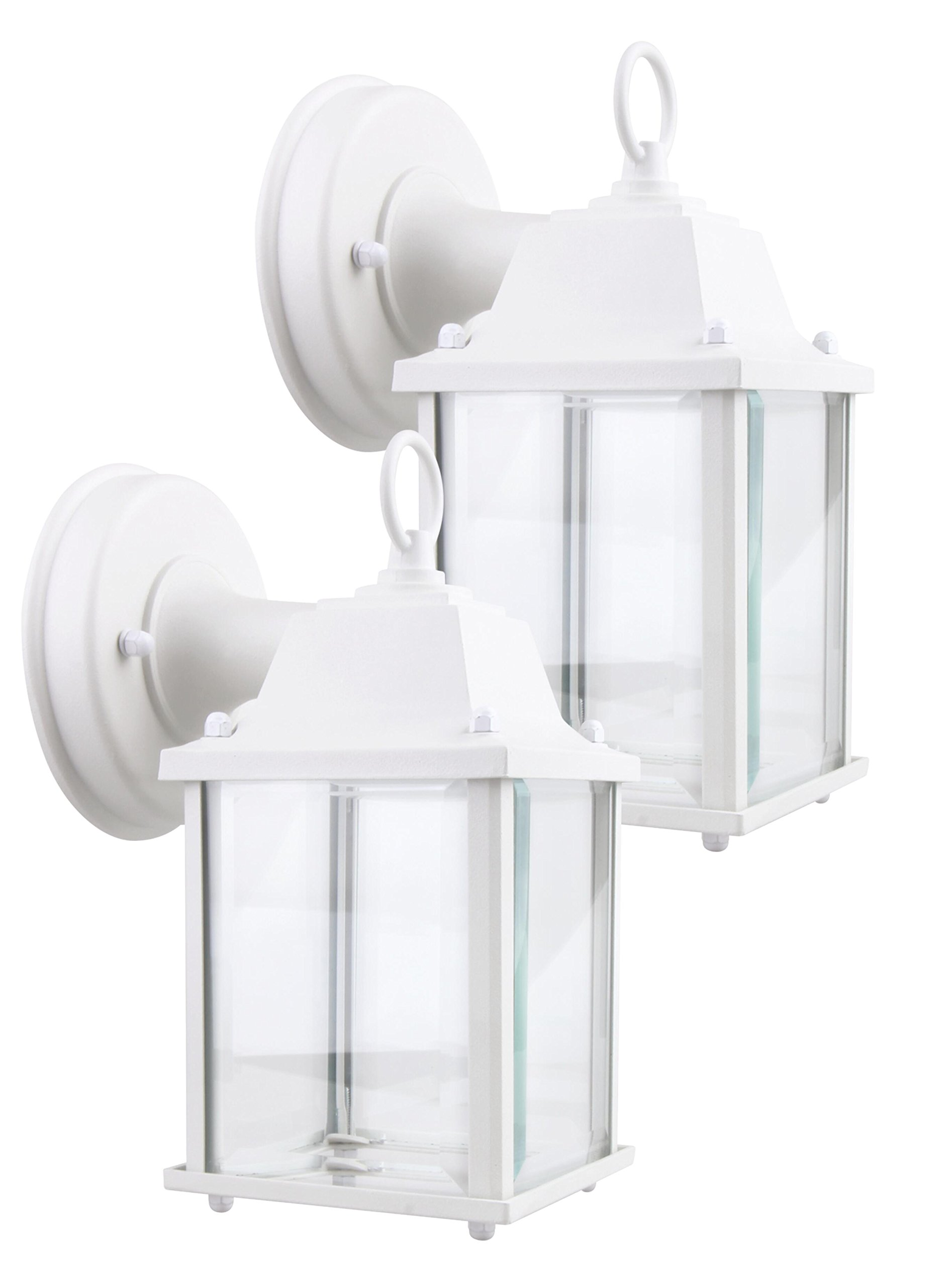 Lit-Path Matte White Outdoor LED Wall Lantern, Wall Sconce as Porch Light, 9.5W (75W Equivalent), 800 Lumen, Aluminum Housing Plus Glass, Water-Proof and Outdoor Rated, ETL and ES Qualified, 2-Pack