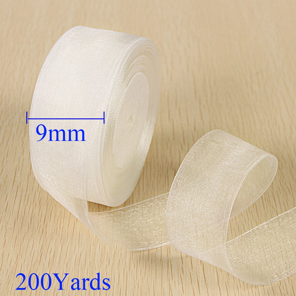 SHiZAK 200Yards 9mm Beige/Creamy Woven Edge Organza Ribbon for Wedding Favor Box Decoration, Gift Packaging, Festival Flower DIY Making ect.
