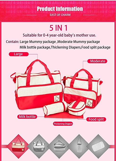 Amazon.com : High Quality 5pcs/set Multifunctional Bolsa Maternidade Baby Diaper Bag Maternity Lady Mummy Bag Messenger Diapering Bag (Coffee) : Baby