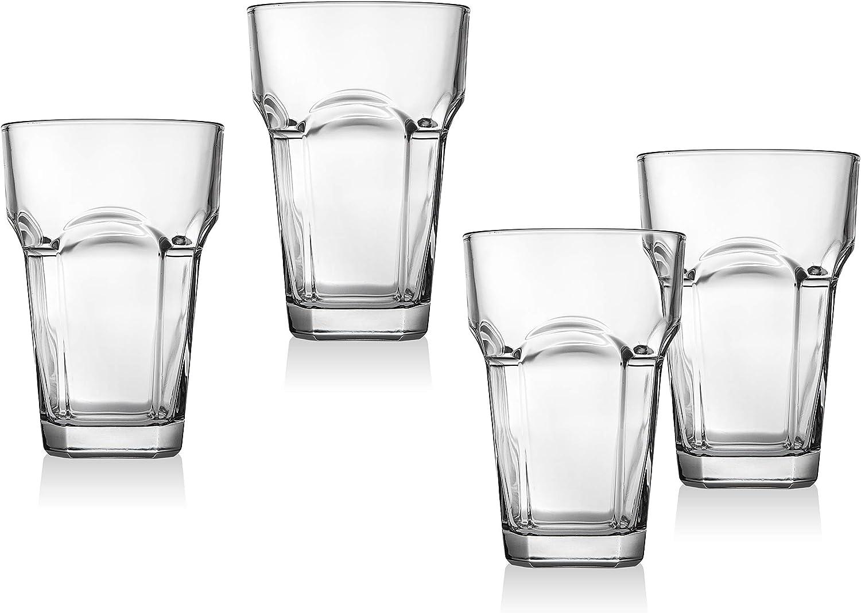 Set of 4 Godinger Highball Glasses Italian Made 13oz Tall Beverage Glass Cups