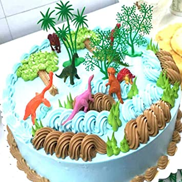 Amazon Com Zcon 16pcs Set Funny Jungle Dinosaur Cake Ornaments Kids