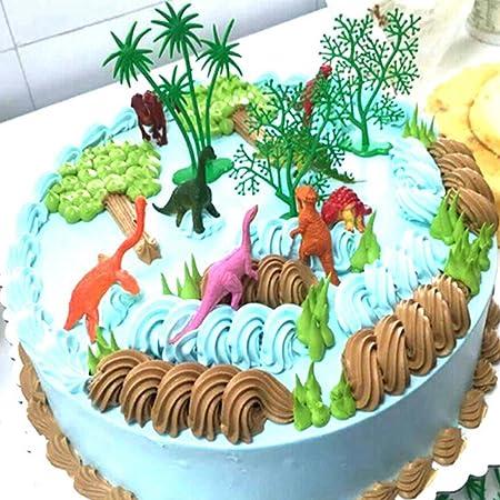 display08 - Juego de 16 Adornos de Dinosaurio para Tartas de niños, decoración de Fiesta de cumpleaños
