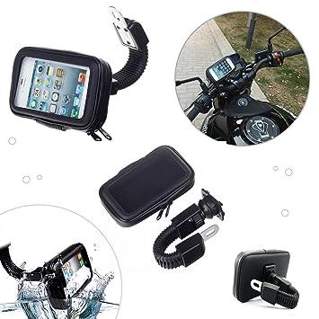Soporte para teléfono móvil para moto impermeable sujeción fuerte DOS TAMAÑOS Universal (Iphone Samsung LG Sony Huawey ZTE etc) (Hasta 5,5 pulgadas): ...