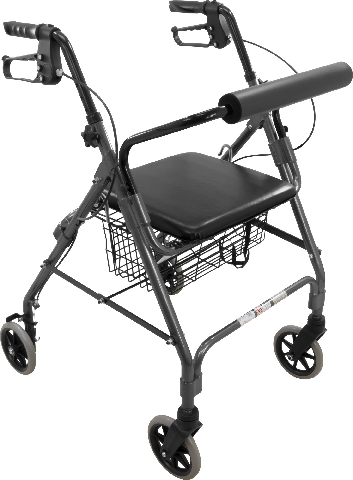 ProBasics Aluminum Rollator with 6-inch Wheels, Padded Seat and Backrest, Height Adjustable Handles, Folds for Storage & Transport, 300 Pound Weight Capacity, Black