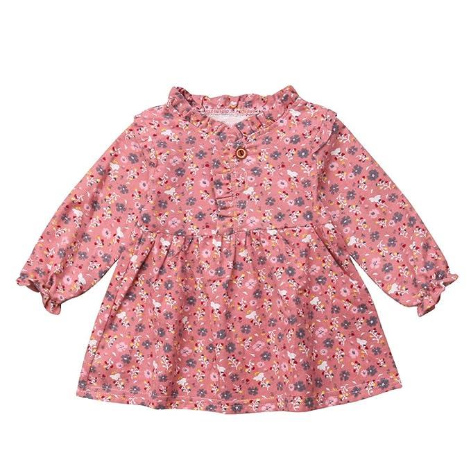 JYC Vestidos Bebe Niña, Vestido de niñas, Recién Nacido Bebé Chicas Largo Manga Flor Impresión Princesa Vestir Trajes: Amazon.es: Ropa y accesorios