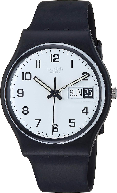 Swatch Women's None Quartz Silicone Strap, Black, 19 Casual Watch (Model: GB743)