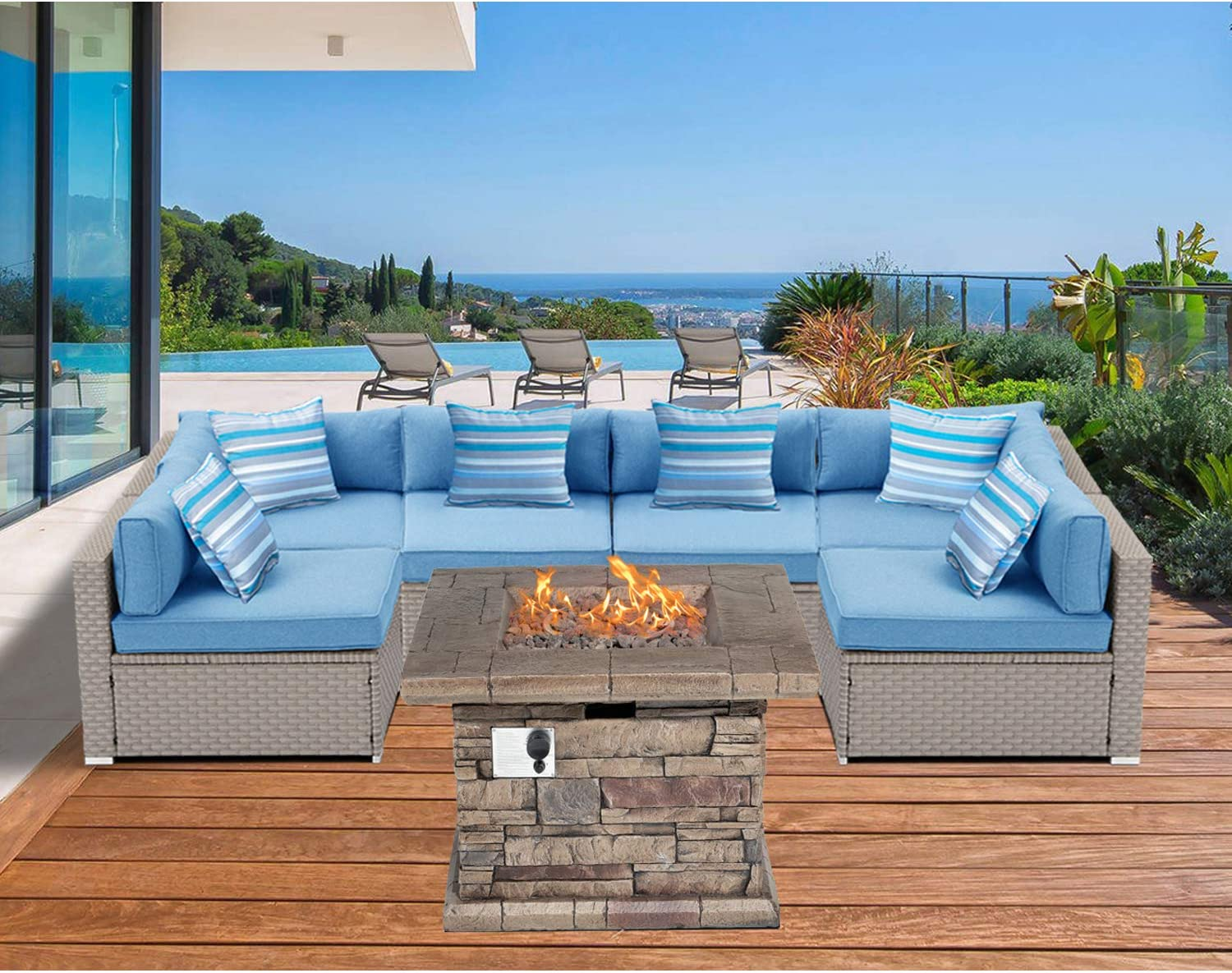 Sunbury Outdoor Sectional 7 Piece Pearl Gray Wicker Sofa Patio Furniture Set W 35 Inch 50 000 Btu Square Stone Crest Fire Pit Table 6 Stripe Pillows Denim Blue Cushions Weatherproof Cover Garden Outdoor