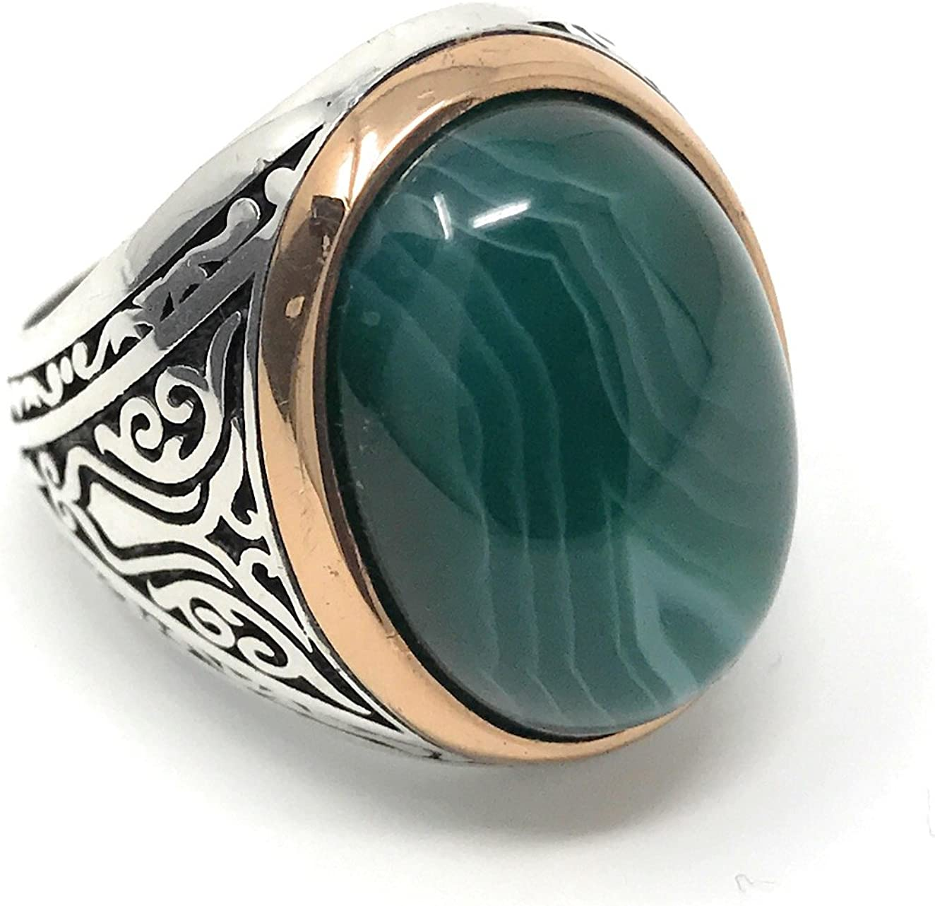Unique Promise Ring Promise Ring Green Ring Sterling Silver Ring 925 Silver Ring Mothers Ring Large Agate Ring Wide Silver Ring