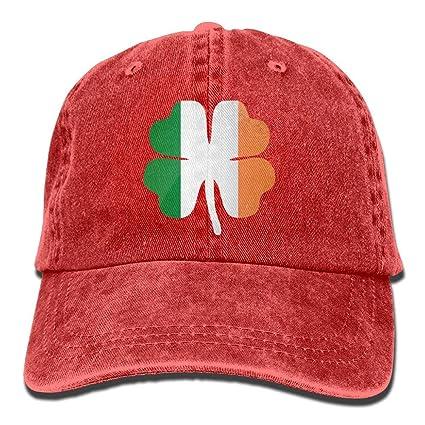 dfegyfr Suerte Trébol de Cuatro Hojas Bandera de Irlanda Irlandesa Unisex Ajustable Gorra de béisbol Jeans