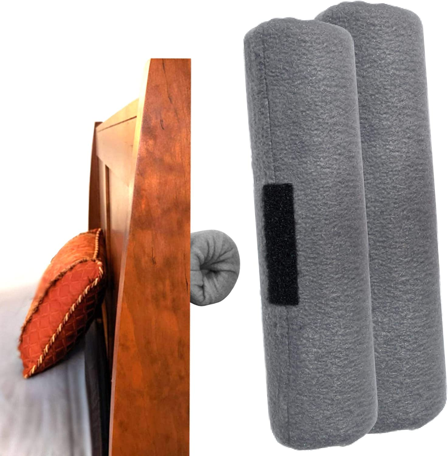 Designs by PJ Headboard Bumper for Wall - Headboard Stabilizer No Screws No Holes No Mess - Soft Headboard Pad for Wall - Wall Protector from Furniture Chair Back - Bed Frame Stoppers for Wall -2 Pack
