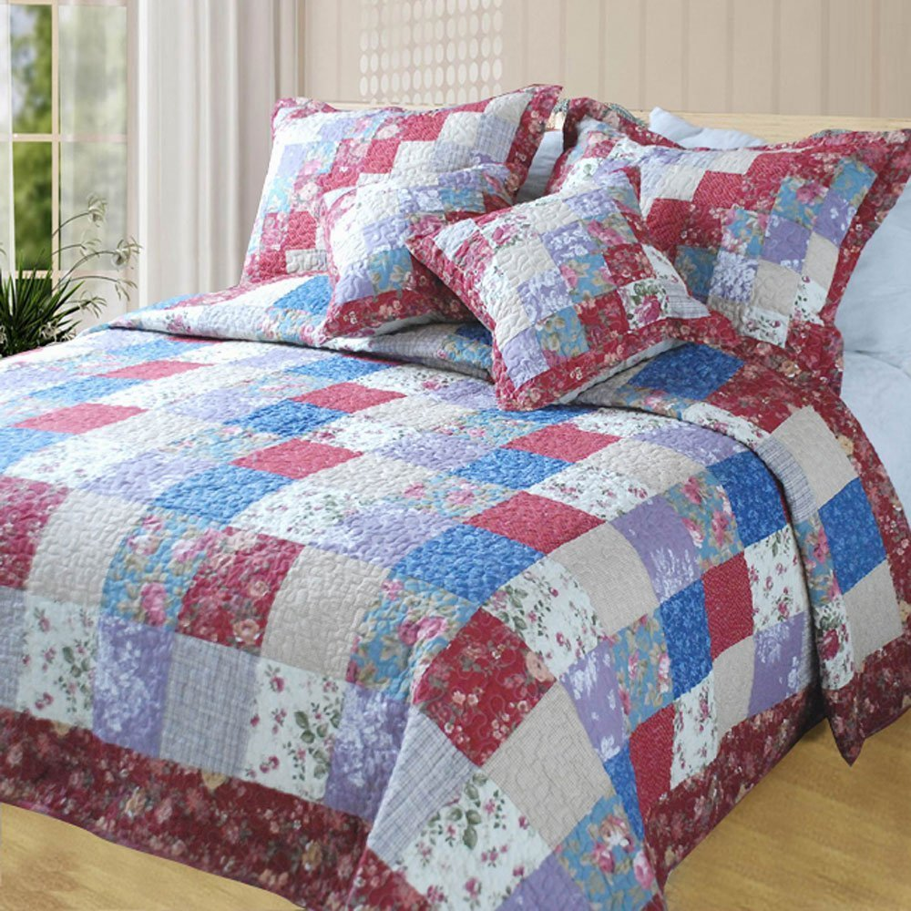 DaDa Bedding Reversible Patchwork Floral Square Forest Checkered Quilt Bedspread Set, Red & Blue, King, 5-Pieces
