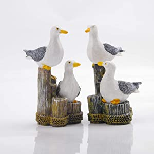 2pcs Small Seagull Miniature Statue Seabirds Figurines Ornaments - Best Indoor Outdoor Statues Yard Art Figurines for Patio Lawn House