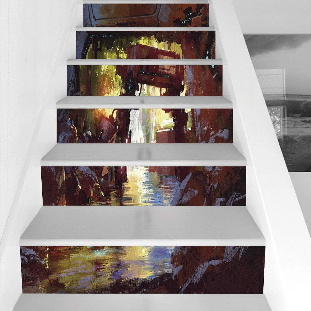 Stair Stickers Wall Stickers,6 PCS Self-adhesive,Industrial Decor,Watercolor Artwork Futuristic Forest Old Machine in Deep Woods Waterfall Decorative,Multicolor,Stair Riser Decal for Living Room, Hall