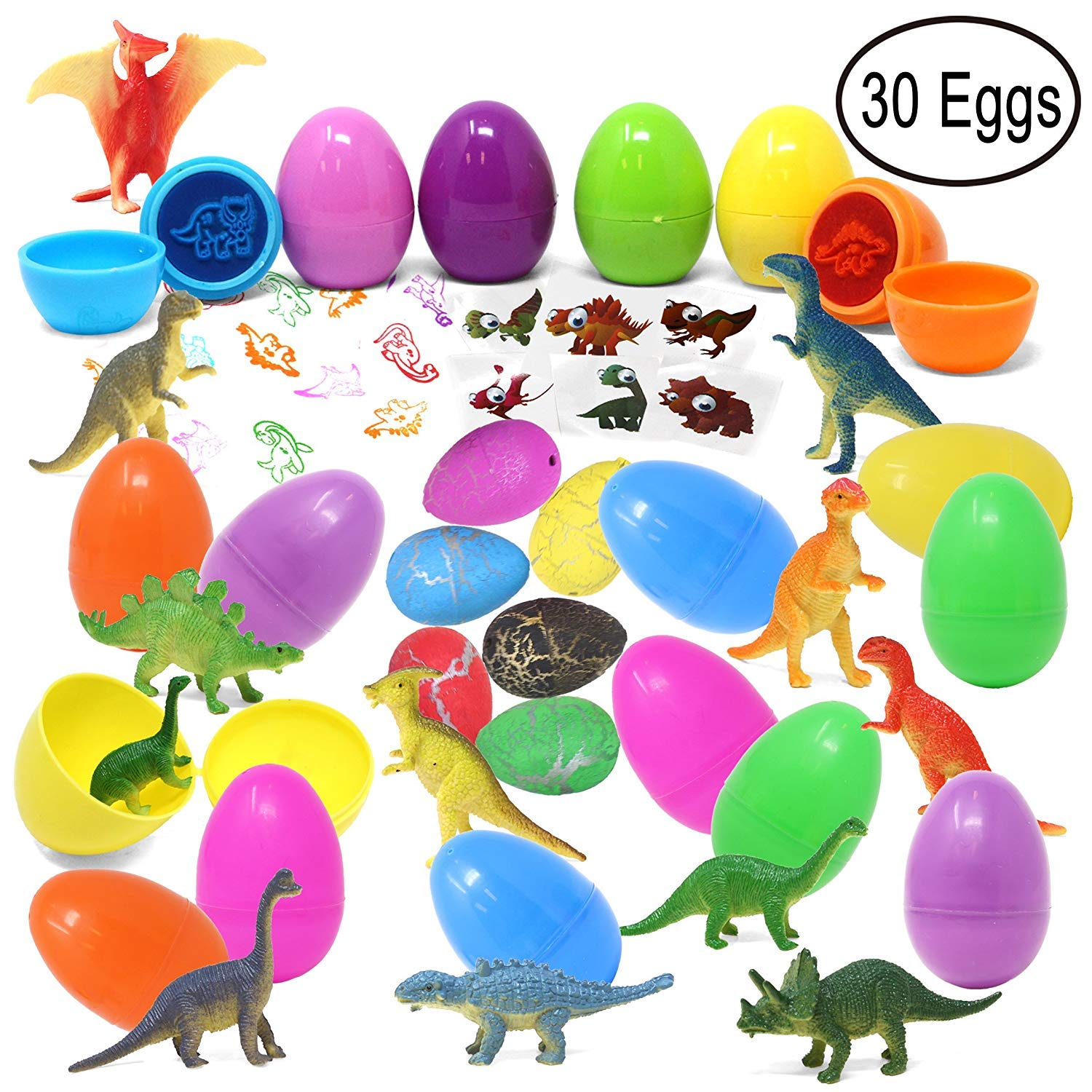 30 Pieces Prefilled Easter Eggs with Dinosaur Figures, Hatch and Grow Dinosaurs, Dinosaur Tattoo and Stamps for Easter Basket Stuffers Party Favors