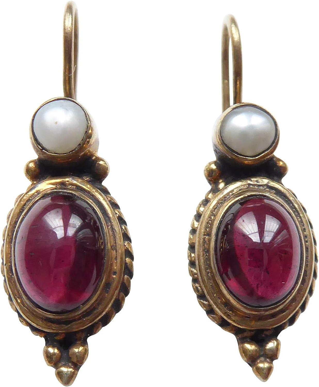 Pendientes de granate rojo con perla de agua dulce auténtica, colgantes, chapados en plata, hechos a mano, regalo único, para mujeres, retro, vintage, elegante