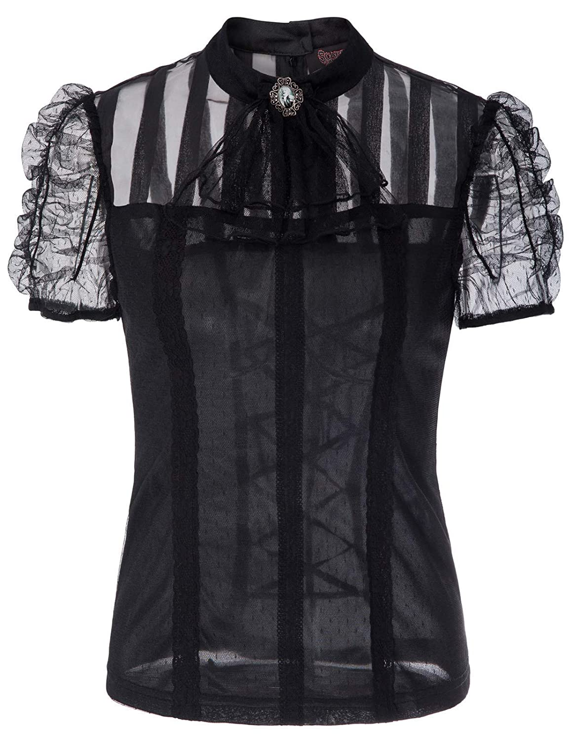 Steampunk Tops | Blouses, Shirts Women Gothic Lace T Shirt Tops Short Sleeve Renaissance Blouse $15.99 AT vintagedancer.com
