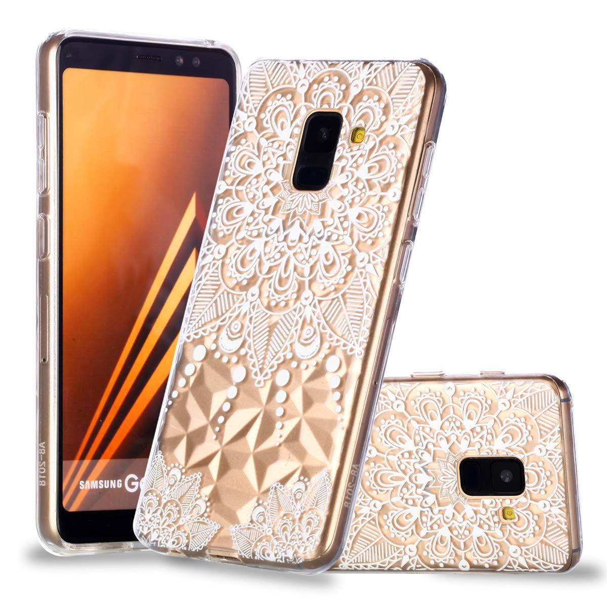 Artfeel Ultra Mince Souple Clair Coque pour Samsung Galaxy A8 2018,/Étui en Relief Fleur Mandala G/éom/étrique Motif Flexible TPU Silicone Arri/ère Housse Couverture de Protection