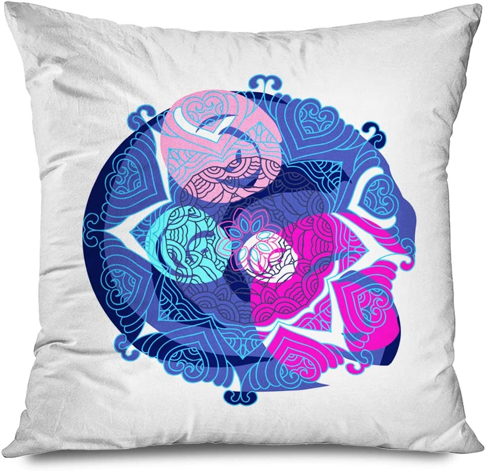 Ahawoso Throw Pillow Cover Square 20x20 Inches Blue Abstraction Festive Indigo Colorful Beautiful Abstract Asian Bengali Carnival Circle Drawing Zippered Pillowcase Home Decor Cushion Pillow Case