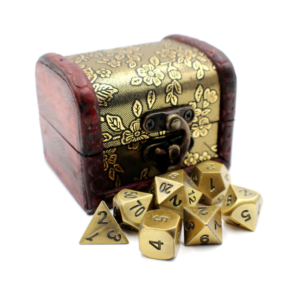 Metal DnD Dice Set with Gold Storage Chest / Box for Roleplaying Games
