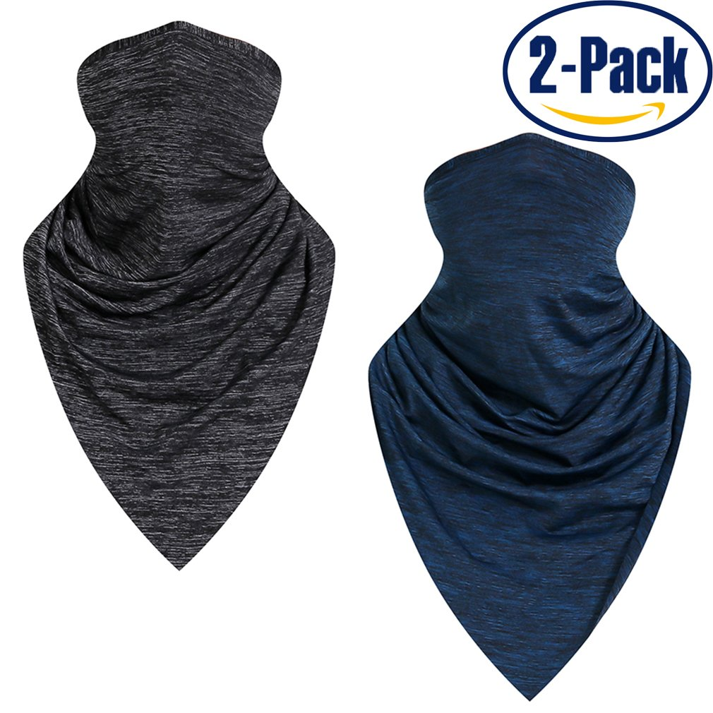 Summer Ice Silk Cooling Sport Scarf,Sun Face Protection Mask Neck Gaiter Balaclava Magic Scarf For Motorcycle Fish Hiking Boat Outdoors (dark gray+dark blue(basic style))