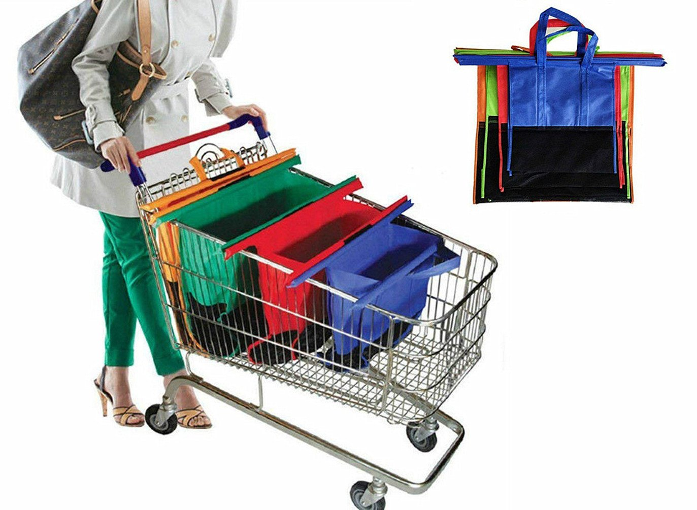 ABTP 4 Piece Grocery Shopping Cart Trolley Bags Foldable Reusable Eco Friendly Shopping Bags Shopping Cart & Grocery Organizer 4 Color