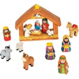 Fun Express Mini Christmas Nativity Set Stable with Jesus Mary Joseph Wisemen - 9 Pieces Red, Blue, Green, Beige, Brown