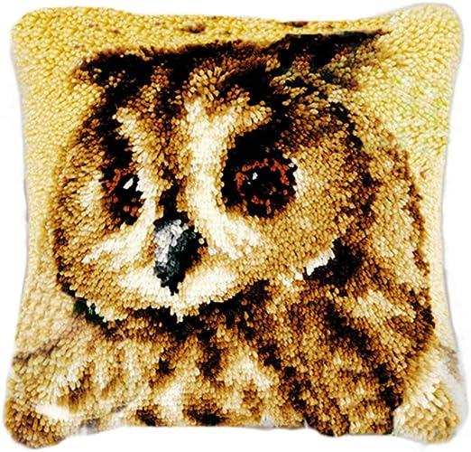 TQQT DIY Latch Hook Rug Kits Cushion Carpet Mat Cover Hand Craft Embroidery Pillowcase Crocheting Yarn Sewing Cartoon Handmade Baby Kids Adults Parents Gift Hummingbird