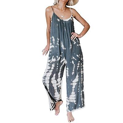 ACHIOOWA Pantalones de Peto para Mujer Baggy Pantalón Jumpsuit de Color Tirantes Largo Harem Talla Grande Casual Moda Fiesta C58909-01 L: Ropa y accesorios