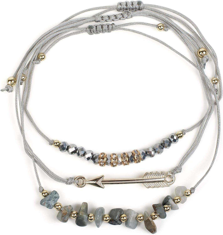 styleBREAKER Set de 3 Pulseras de Tela de Mujer con Perlas, estrás, Flecha y Piedras, bisutería 05040160