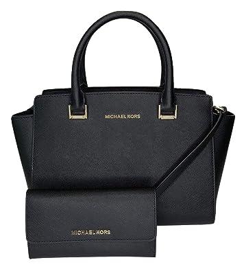 4735afd9999d Amazon.com: MICHAEL Michael Kors Selma MD TZ Satchel bundled with Michael  Kors Jet Set Travel Large Trifold Wallet (Black): Shoes