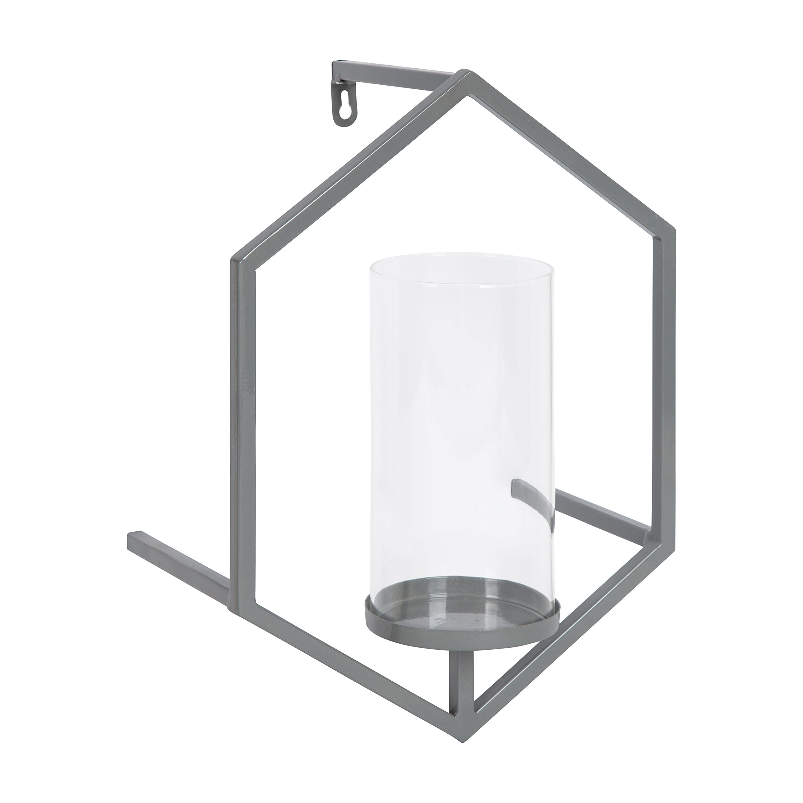 Kate and Laurel Curran Hexagon Metal Sconce Wall Candle Holder, with Glass Pillar, Gray