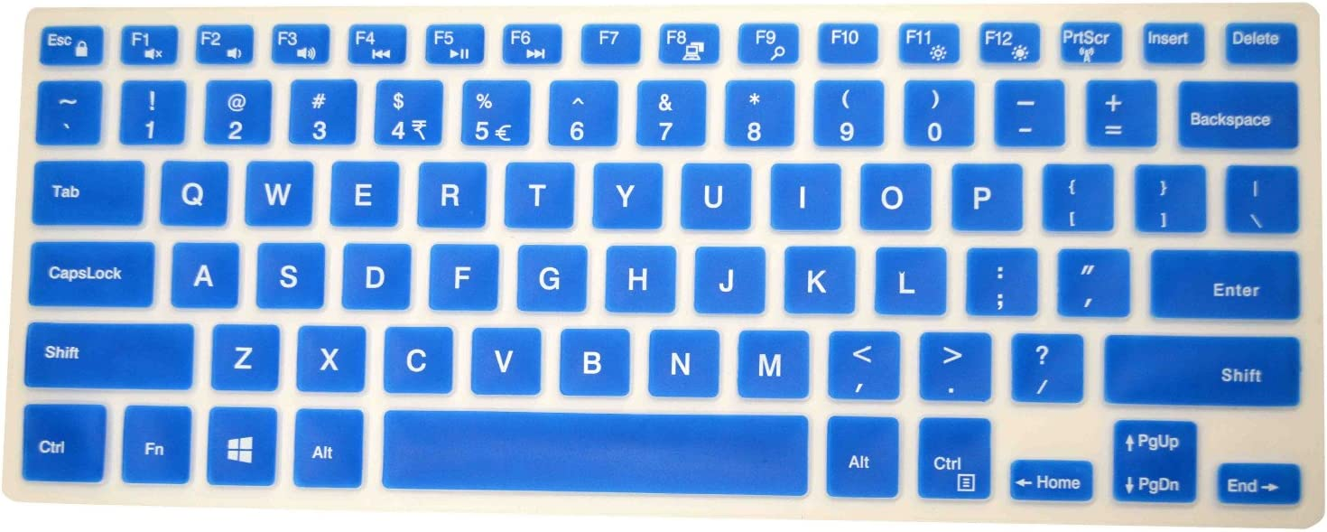 "PcProfessional Blue Ultra Thin Silicone Gel Keyboard Cover for Dell inspiron 15 5568 7569 15.6"" 2 in 1 Touch Laptop with Application Kit (Please Compare Keyboard Layout and Model)"