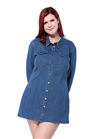 Kissmilk Womens Plus Button Down Bodycon Collar Denim Mini Jean