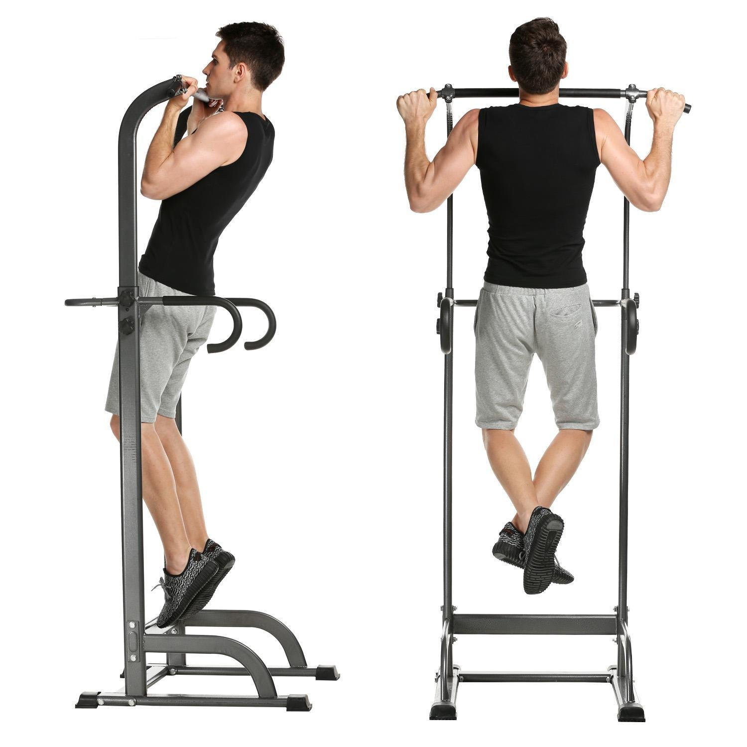 Adjustable Home Gym Power Tower, Standing Pull Up Bar Chin Up Strength Fitness Dip Station (US Stock)