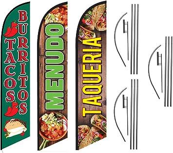 Pack of 2 Tacos /& Burritos King Swooper Flag w//Kit