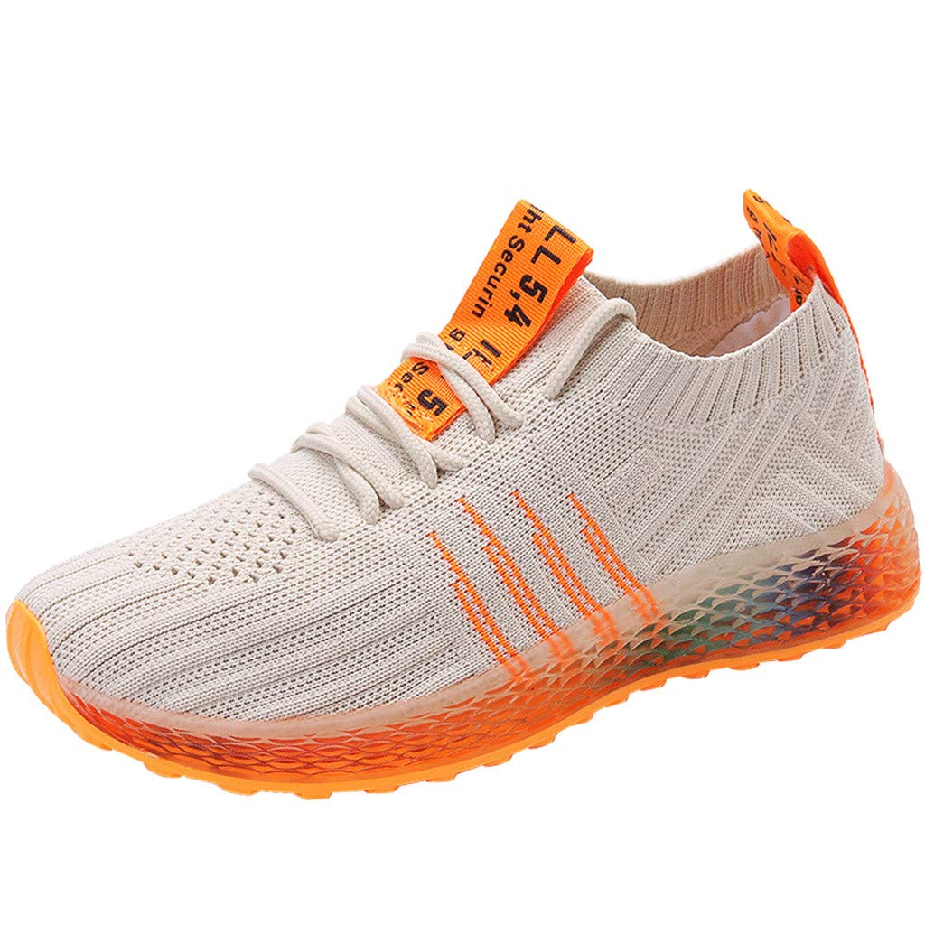 JJLIKER Womens Walking Shoes Elastic Knit Breathable Lightweight Slip On Tennis Run Gym Sneakers Fashion Colorful Sole