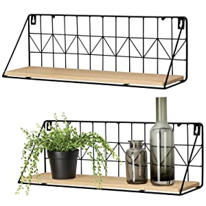 Mkono Wall Mounted Floating Shelves Set of 2 Rustic Metal Wire Storage Shelves Display Racks Home Decor, Large