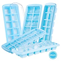 Ice Cube Tray, Jelife 5 Pack Flexible Food-Safe PP+Silicone Ice Cube Molds with Non-Spill Lids, LFGB Certification, Easy Release, Ideal for Water, Cocktail, Whiskey and Other Drinks, Blue