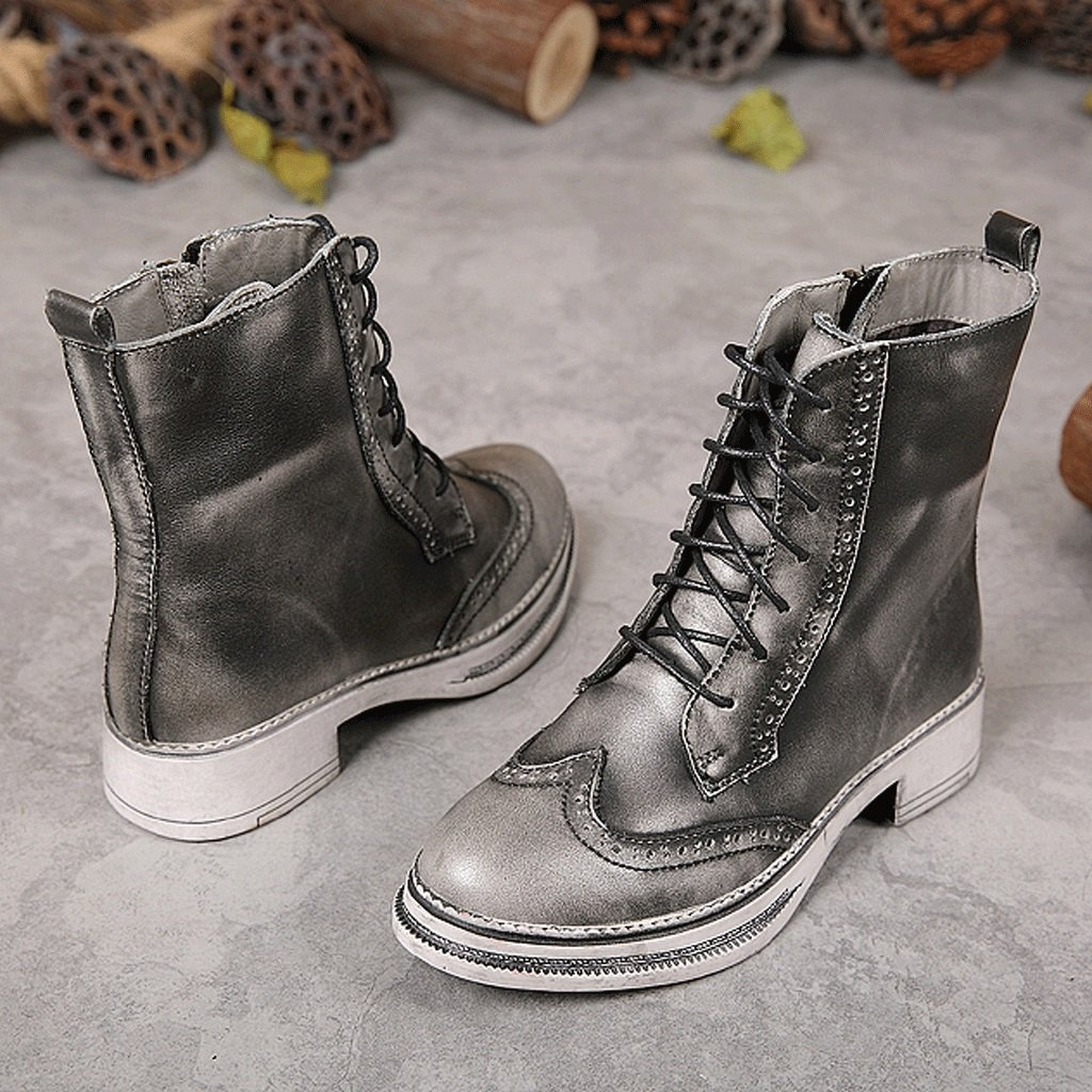 Women 's Martin boots autumn and winter retro genuine leather knights boots personality handmade shoes ( Color : Gray , Size : US:5UK:4EUR:35 ) by LI SHI XIANG SHOP (Image #4)